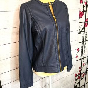 The Limited Jacket Faux Leather Navy Blue/gold S